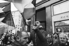 De pro-Palestijnse demonstratiesystemen betwisten de Joodse Brigade Royalty-vrije Stock Fotografie