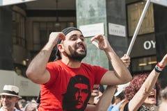 De pro-Palestijnse demonstratiesystemen betwisten de Joodse Brigade Stock Afbeelding