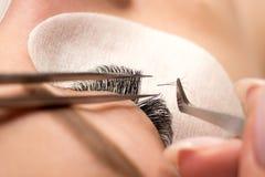 De Procedure van de wimperuitbreiding Het vrouwelijke oog met lange zwarte wimpers, sluit omhoog, selectieve nadruk royalty-vrije stock afbeeldingen