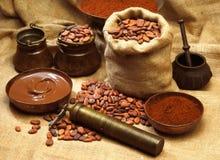 De producten van de cacao Stock Afbeelding