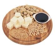 De Producten van de sojaboon Stock Foto's