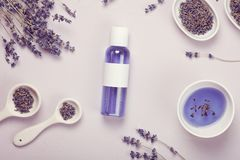 De producten van de lavendellichaamsverzorging Aromatherapy, kuuroord en natuurlijk gezondheidszorgconcept stock afbeelding