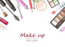 De producten vlakke vector van de make-upschoonheid Royalty-vrije Stock Foto's