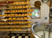 De productie van de kaas stock foto's