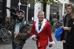 DE PRODUCTIE VAN KERSTMANtv MET BUBBER Royalty-vrije Stock Foto