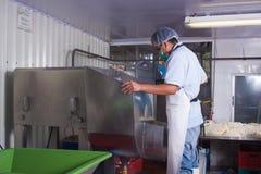 De productiearbeider van de kaas Stock Foto's