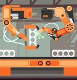 De productielijn van de productielopende band met robotachtig wapen Zware industrie vectorconcept vector illustratie