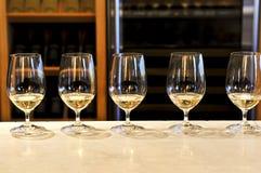 De proevende glazen van de wijn Stock Afbeeldingen