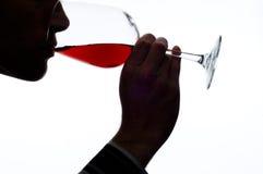 De proevende wijn van de mens Stock Afbeeldingen