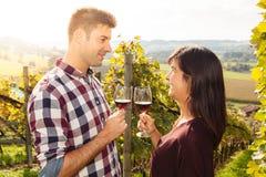 De proevende wijn van het paar in een wijngaard Royalty-vrije Stock Afbeelding