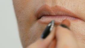 De professionele hoofdmake-upkunstenaar vraagt contourpotlood als basis aan lippenstift op dunne lippen van een model met samenst stock footage
