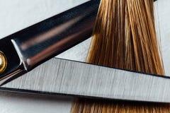 De professionele kapper van de schaarstilist op de achtergrond van gezond mooi haar Een voorbeeld van een meetapparaat stock afbeelding