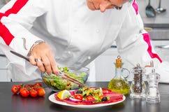 De professionele kok bereidt een plaat met salami en verse salade voor Stock Foto