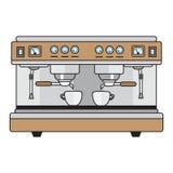 De professionele metaalkleuren van de koffiemachine in een vlakke stijl Stock Foto