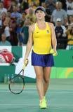 De professionele tennisspeler Elina Svitolina van de Oekraïne in actie tijdens kiest om gelijke drie van Rio 2016 Olympische Spel Stock Foto's