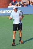 De professionele tennisspeler Tommy Haas tijdens eerste ronde kiest gelijke bij US Open 2013 uit Royalty-vrije Stock Afbeelding