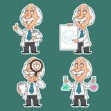 De professor in divers stelt vastgestelde stickers 2 Stock Afbeeldingen