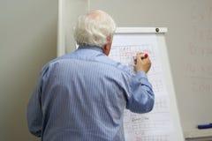 De professor schrijft op het bord Stock Fotografie