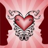De profielen van de man en van de vrouw op rood hart op achtergrond. royalty-vrije stock afbeelding