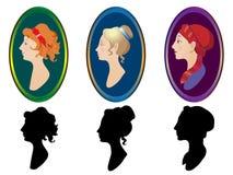 De profielen van de vrouw met frame Stock Afbeeldingen