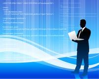 De programmeur van de computer op Internet achtergrond Stock Afbeelding