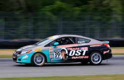 De prohonda civic-raceauto van Si op de cursus Stock Afbeelding