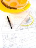 De projecten van de bouw met architectentekening Royalty-vrije Stock Afbeelding