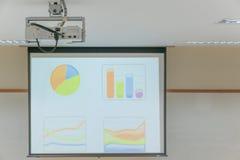 De projector hangt op plafond in Lezingsruimte Stock Afbeeldingen