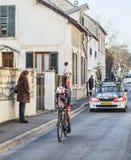 De proloog van Fietserandreas Klöden- Parijs Nice 2013 in Houille Stock Foto's