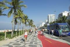 De Promenade Rio de Janeiro Brazil van het Ipanemastrand stock foto's