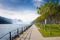 De promenade van Beautifull op het meer van Luzerne Stock Foto