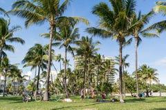 De Promenade van het zuidenstrand, het Strand van Miami, Florida Stock Foto