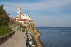 De promenade van Piran Stock Foto's