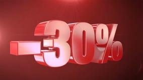 -30% de promociones de la animación de la venta en el texto rojo Backgroun inconsútil loopable stock de ilustración