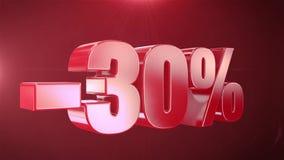 -30% de promociones de la animación de la venta en el texto rojo Backgroun inconsútil loopable libre illustration