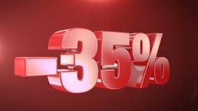 -35% de promociones de la animación de la venta en el texto rojo Backgroun inconsútil loopable libre illustration