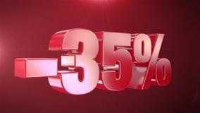 -35% de promociones de la animación de la venta en el texto rojo Backgroun inconsútil loopable ilustración del vector