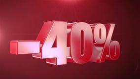 -40% de promociones de la animación de la venta en el texto rojo Backgroun inconsútil loopable stock de ilustración