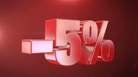 -5% de promociones de la animación de la venta en fondo inconsútil loopable rojo del texto ilustración del vector