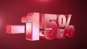 -15% de promociones de la animación de la venta en fondo inconsútil loopable rojo del texto libre illustration