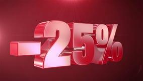 -25% de promociones de la animación de la venta en fondo inconsútil loopable rojo del texto ilustración del vector