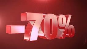 -70% de promociones de la animación de la venta en fondo inconsútil loopable rojo del texto libre illustration