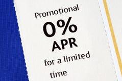 De promotie 0% aanbieding van april Stock Foto's