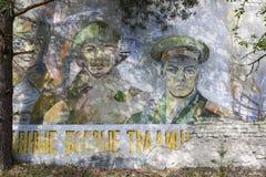 De propaganda van de USSR het schilderen in Pripyat, de Oekraïne Royalty-vrije Stock Afbeeldingen