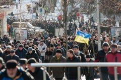 De protestactie in centrale Kyiv Royalty-vrije Stock Fotografie