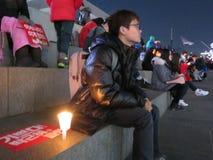 De Protesteerder van de parkbeschuldiging Stock Foto