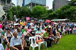 De protesteerders bij Meidag verzamelen Singapore Stock Foto's
