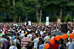 De protesteerders bij Meidag verzamelen Singapore Royalty-vrije Stock Afbeeldingen