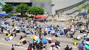 De protesteerdersafstand houden 2014 van Hongkong Stock Foto's
