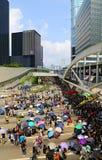 De protesteerdersafstand houden van Hongkong in admiraliteit Royalty-vrije Stock Foto